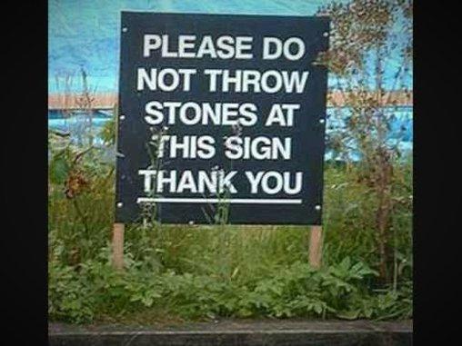 Keine Steine werfen bitte
