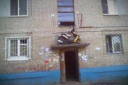 Roller steht auf Vordach