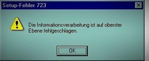 """Informationsverarbeitung ist auf """"oberster Ebene"""" fehlgeschlagen."""