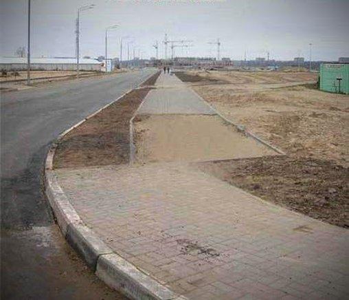 Da fiel dem Straßenbauer spontan ein, dass ja ein Radweg geplant war. Kein Problem!
