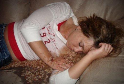 Schlafen in der eigenen Kotze