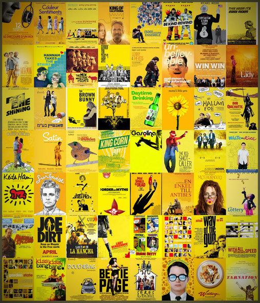 Skurrile gelbe Plakate bei kleinen Independent Filmen.