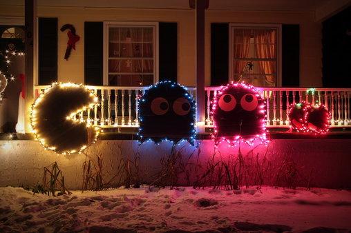Pacman-Weihnachtsdekoration.