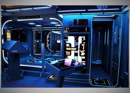 Der Transporter liegt direkt neben dem Klo - in der Sternenflotte sonst unüblich.