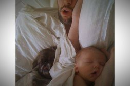 Wie der Vater so das Baby und der Hund
