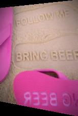 Flip-Flops fordern zum Bierholen auf
